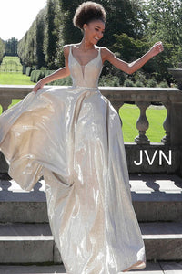 110493b4 Silver v Neckline Metallic Bridesmaid Dress jvn67050
