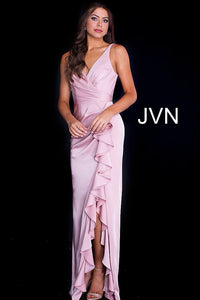 Blush Ruffle Slit V Neck Ruched Prom Dress JVN60055 - Marleighz