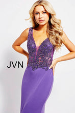 Load image into Gallery viewer, Sheer Embellished Bodice Fitted Prom Dress JVN58124 - Marleighz