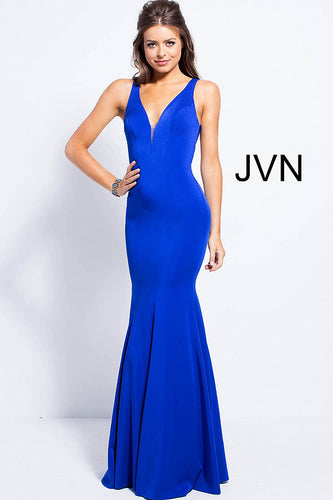 Royal Blue fitted plunging Neckline Bridesmaid Dress JVN58011 - Marleighz