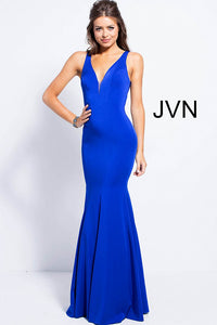 a4ebfcc11bd Royal Blue fitted plunging Neckline Bridesmaid Dress JVN58011