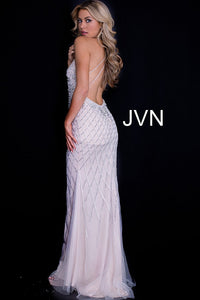 Silver Nude Embellished Backless Prom Dress JVN54552 - Marleighz