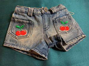 Denim Shorts with Cherry Accents - Build-a-Bear Resale