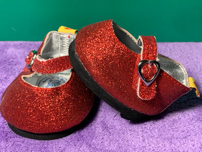 Build a Bear White Sandals with Hearts and Sequins
