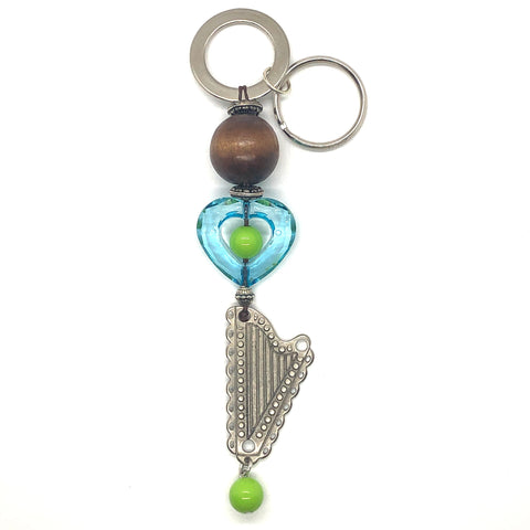 Key Holder/Purse Charm with BLUE HEART & METAL HARP