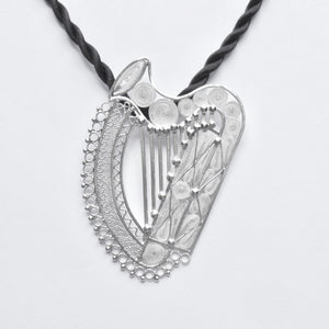 Celtic filigree harp pendant - Large