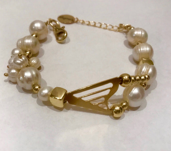 24K GOLD PLATED CLASSIC HARP & PEARLS BRACELET