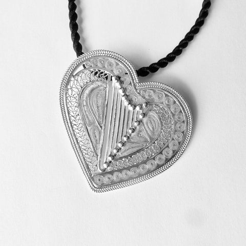 HEART filigree harp pendant - Large