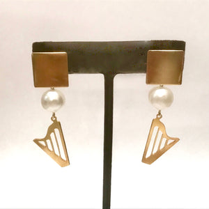 24K GOLD PLATED CLASSIC or CELTIC HARP & PEARL stud earrings