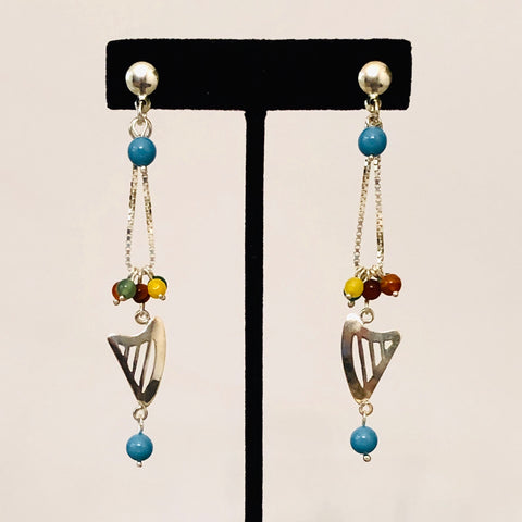 NEW! CELTIC or CLASSIC HARP MULTICOLOR BEADED CHAIN LOOP STUD EARRINGS