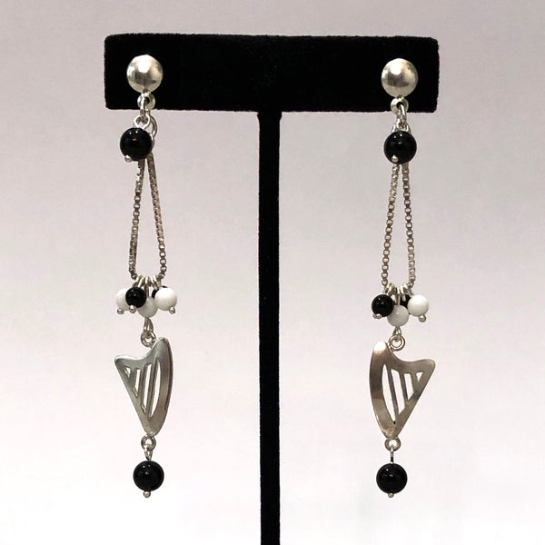 NEW! CELTIC or CLASSIC HARP BLACK & WHITE BEADED CHAIN LOOP STUD EARRINGS