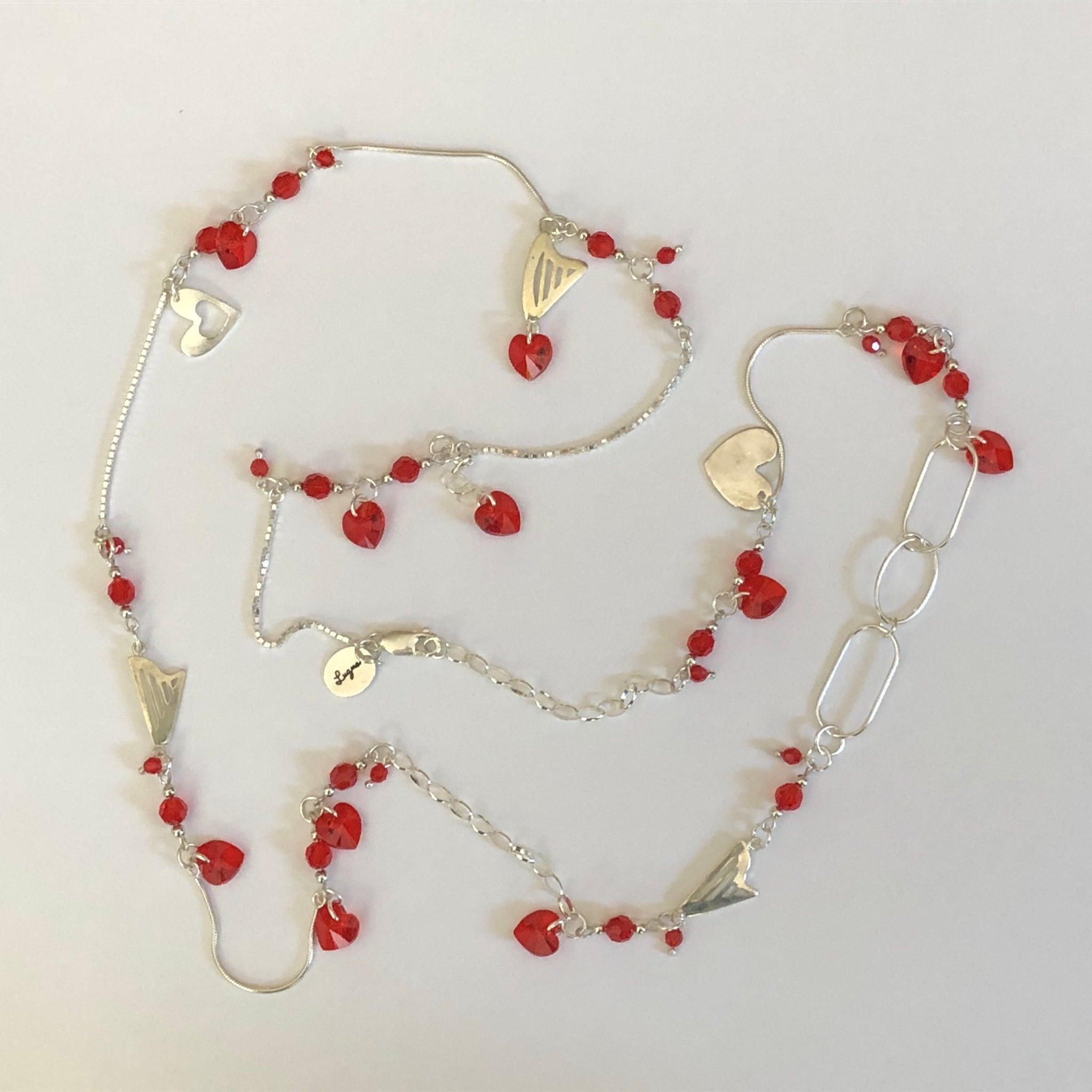 LONG NECKLACE WITH HARPS & RED SWAROVSKI HEARTS & CRYSTALS