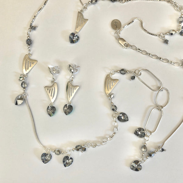 LONG NECKLACE WITH HARPS & GRAY SWAROVSKI HEARTS & CRYSTALS