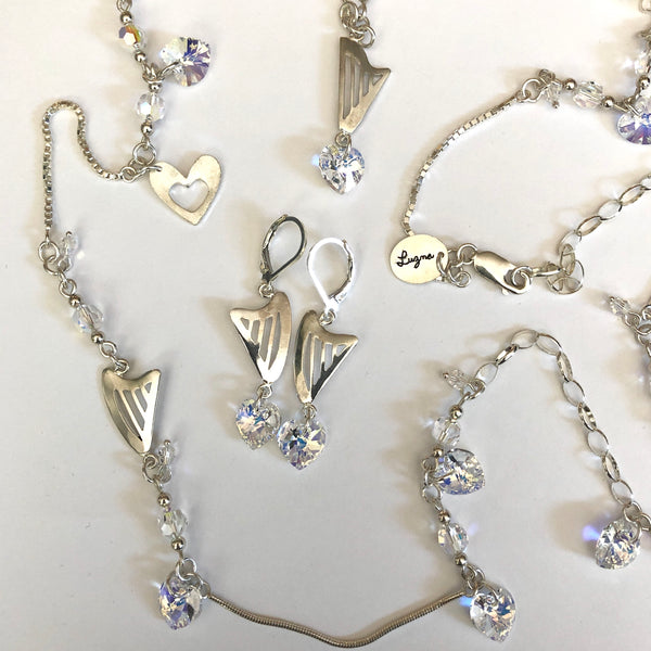 LONG NECKLACE WITH HARPS AND CLEAR SWAROVSKI HEARTS & CRYSTALS