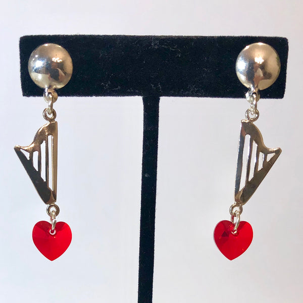 CLASSIC stud earrings with RED, GRAY or CLEAR SWAROVSKI HEART