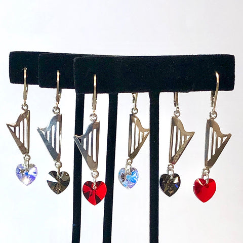 CLASSIC lever back earrings with RED, GRAY or CLEAR AB SWAROVSKI HEART