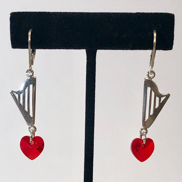 CLASSIC lever back earrings with RED, GRAY or CLEAR SWAROVSKI HEART