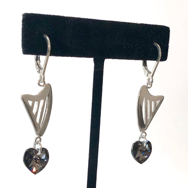 CELTIC lever back earrings with RED, GRAY or CLEAR SWAROVSKI HEART