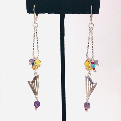 ONE OF A KIND CLASSIC HARP MULTICOLOR BEADED CHAIN LOOP LEVER LOCK EARRINGS