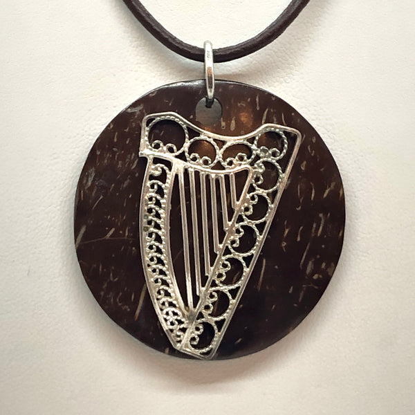 FILIGREE STERLING SILVER CELTIC HARP AND COCONUT NECKLACE (limited Quantity)