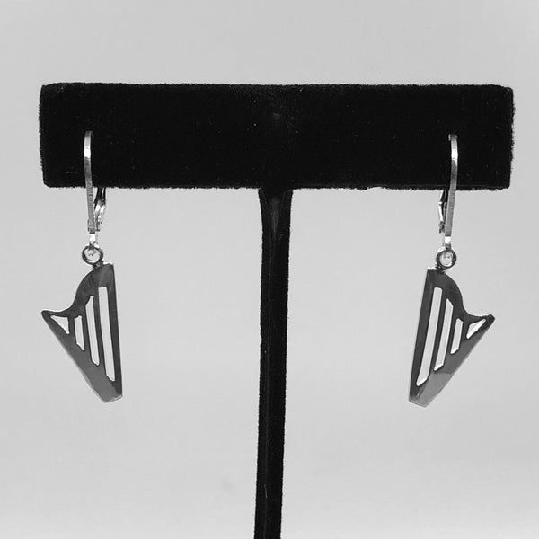 SMALL STERLING SILVER CLASSIC or CELTIC HARP lever lock earrings