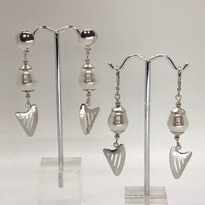 LARGE PEARL & CELTIC HARP stud or lever back earrings (LIMITED QUANTITY)