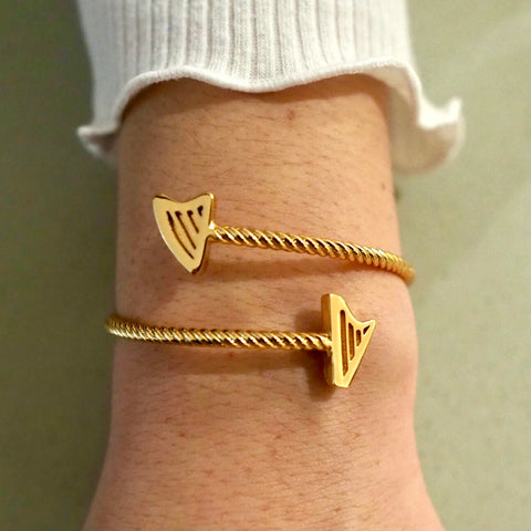 NEW! 24K Gold Plated ROPE HARPS BRACELET