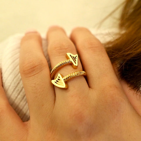 NEW! 24K Gold Plated ROPE HARPS RING