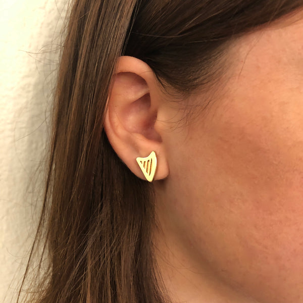 NEW! 24K Gold Plated CELTIC or CLASSIC HARP POST EARRINGS