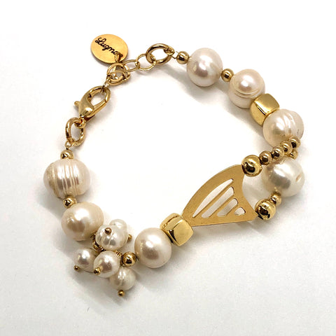 24K GOLD PLATED CELTIC HARP & PEARLS BRACELET