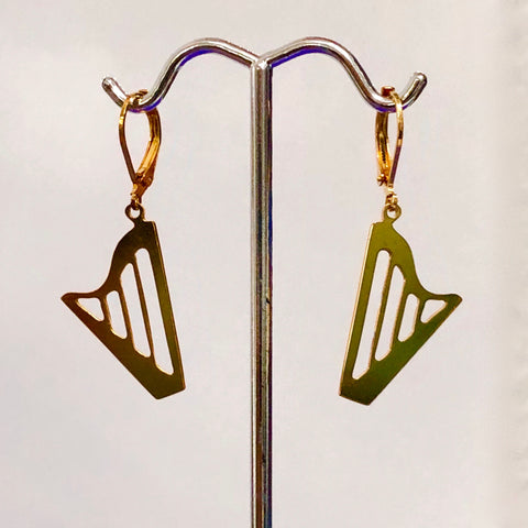 24K GOLD PLATED CLASSIC HARP lever back earrings (Small)