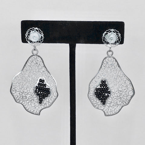 "Lace-filigree and BLACK ""chaquira beads"" earrings ($50 off)"