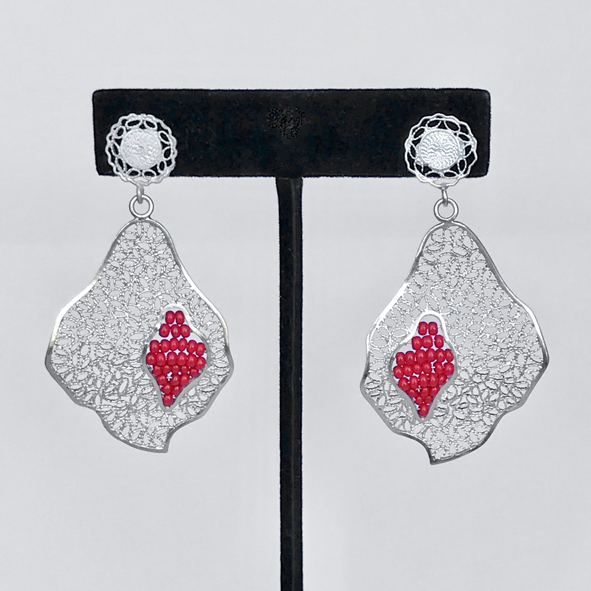 "Lace-filigree and RED ""chaquira beads"" earrings ($50 off)"