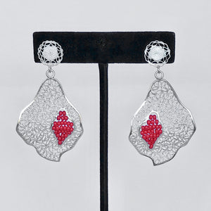 "Lace-filigree and RED ""chaquira beads"" earrings (25% off)"