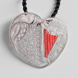 "LACE-FILIGREE & RED ""chaquira beads"" HEART HARP pendant 20% OFF • LIMITED QUANTITY"