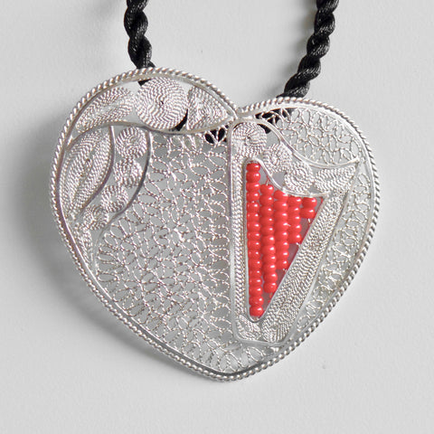 "Lace-filigree & RED ""chaquira beads"" heart harp pendant"