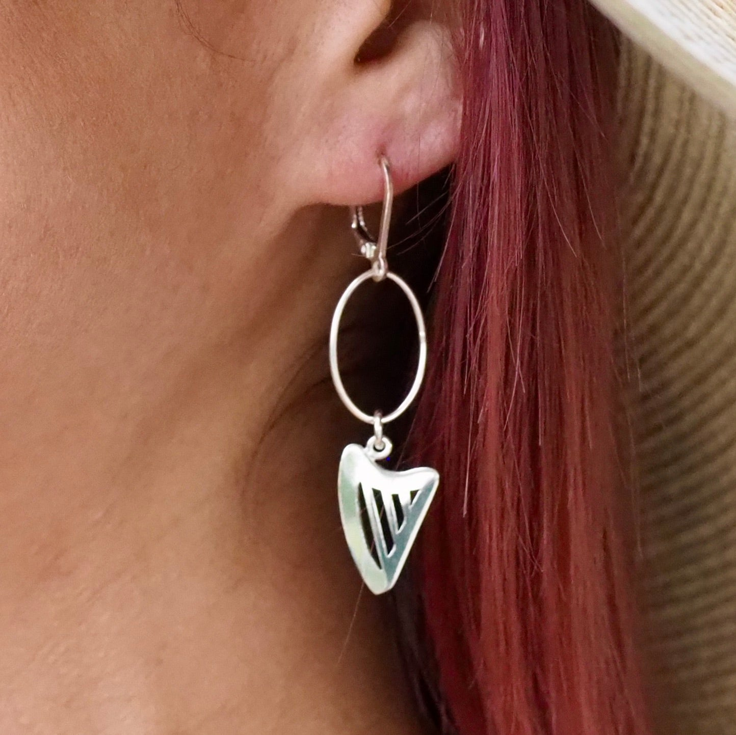 BIG LOOP CELTIC HARP lever back earrings