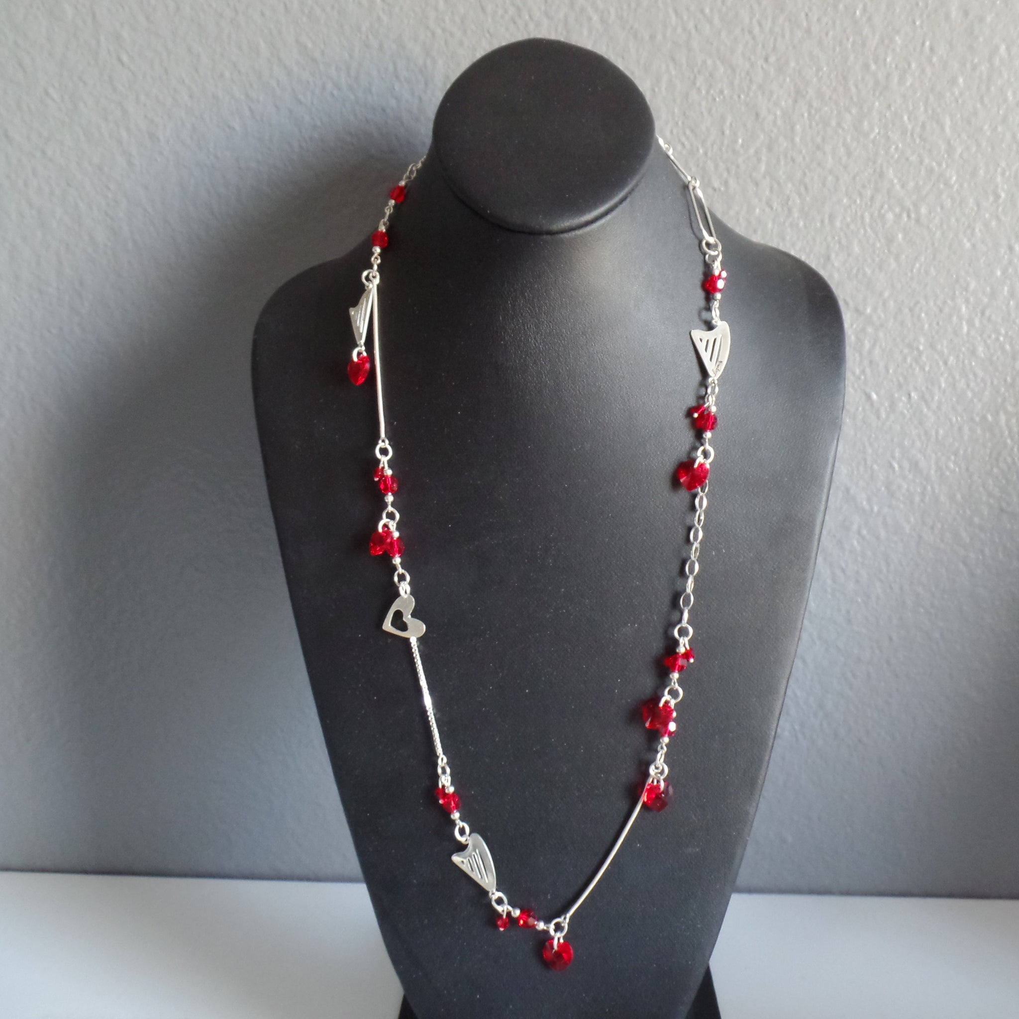 RED SWAROVSKI and Sterling Silver necklace