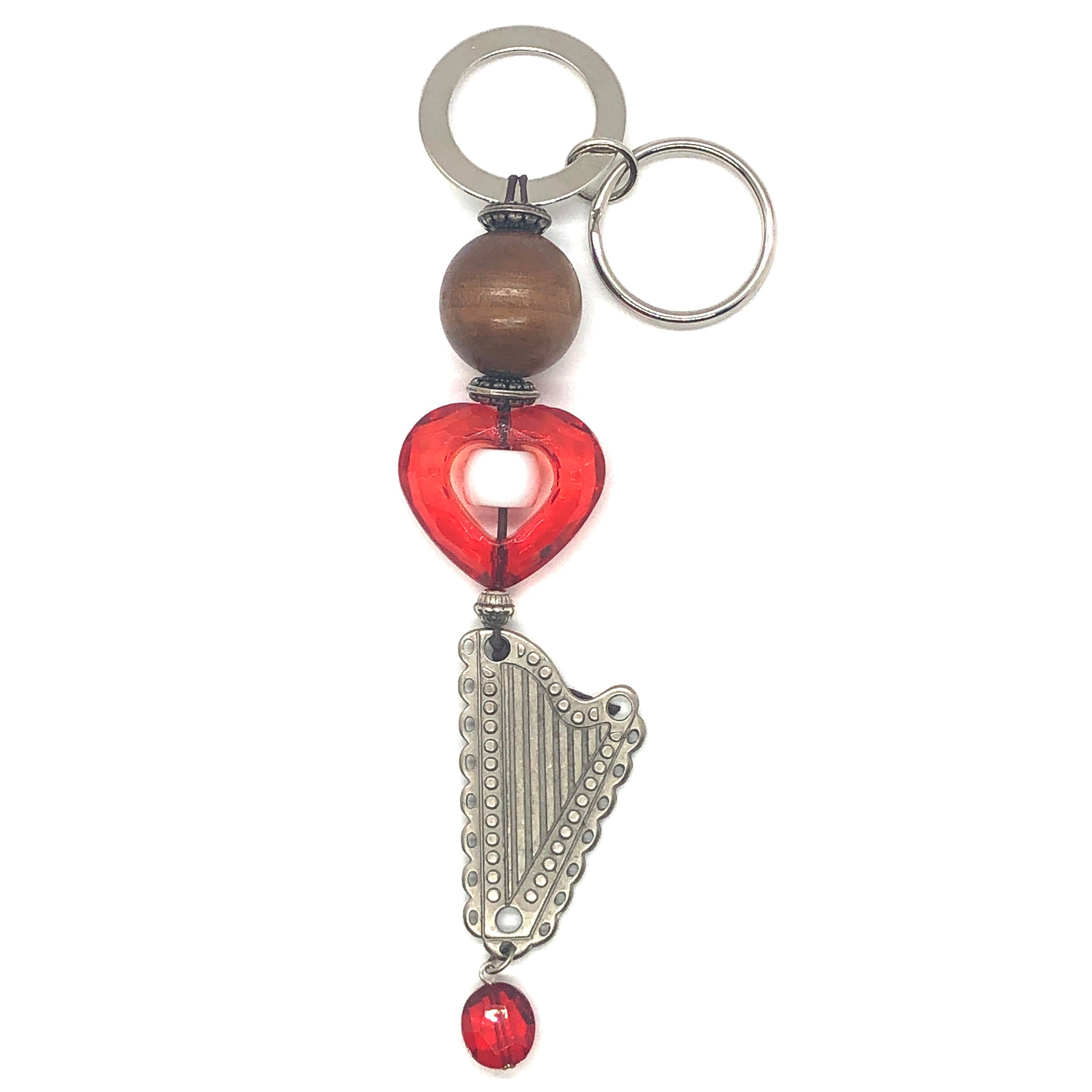 Key Holder/Purse Charm with RED HEART & METAL HARP