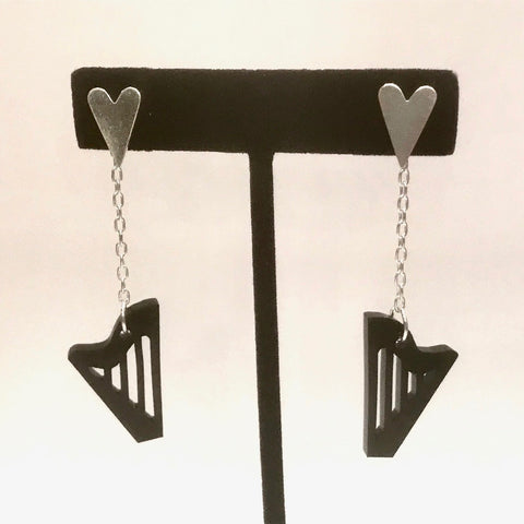 STERLING SILVER & BLACK ACRYLIC CLASSIC HARP EARRINGS