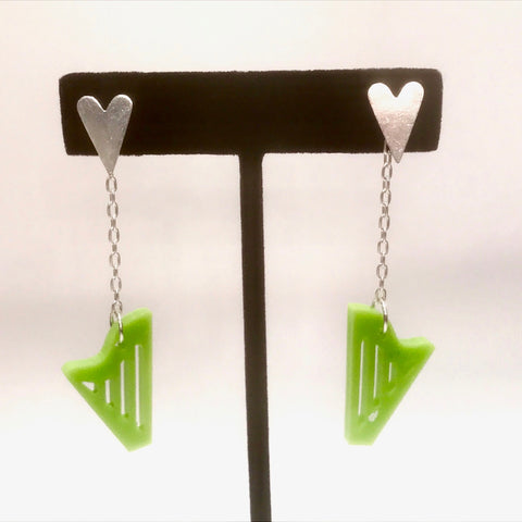 STERLING SILVER & GREEN ACRYLIC CLASSIC HARP EARRINGS