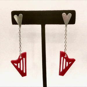STERLING SILVER & RED ACRYLIC CLASSIC HARP EARRINGS