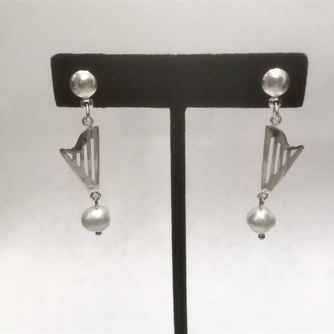 CLASSIC HARP & PEARL EARRINGS