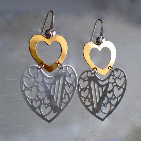 2 HEARTS -2 TONES HARP French hook earring