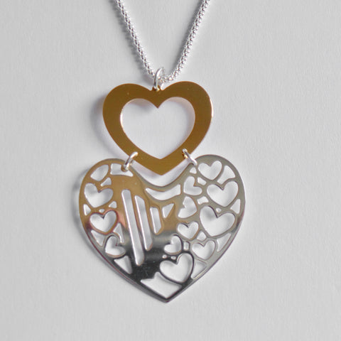 2 HEARTS - 2 TONES harp necklace