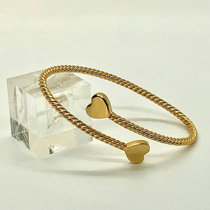 NEW! 24K Gold Plated ROPE BRACELET WITH HEARTS