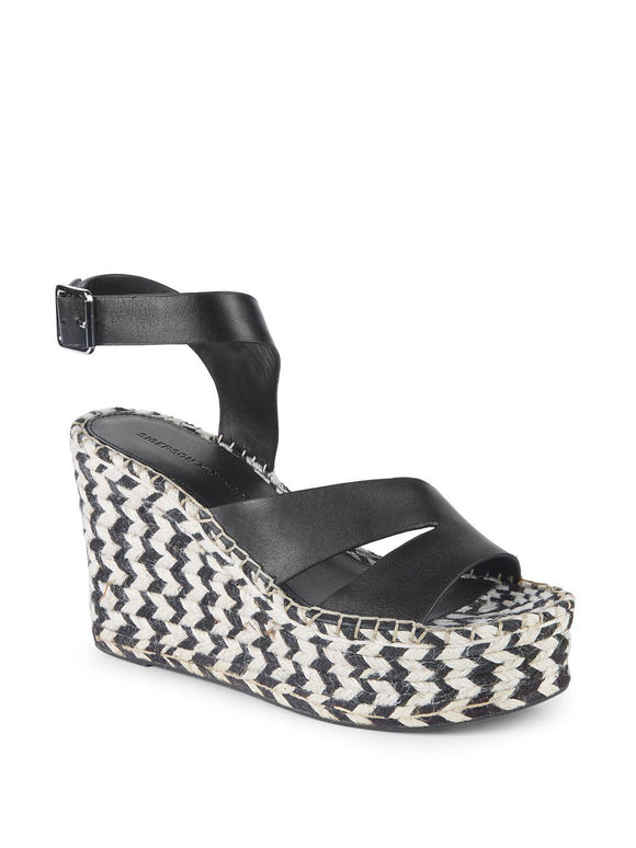 Sigerson Morrison Arien Leather Platform Wedge Sandals - Black