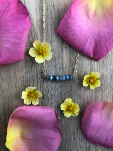Blue Kyanite Bar Necklace-14K Gold Fill