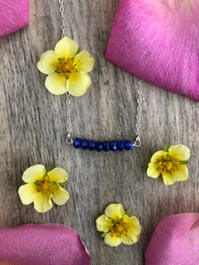 Lapis Bar Necklace-Sterling Silver