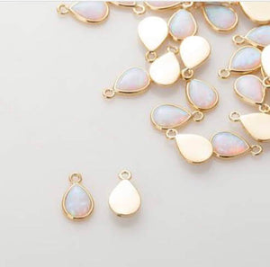 Dainty Opal Teardrop Charm Necklace